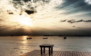 nature, пейзаж. море, wave, Boats, pier, pier, sky, sun, Rays