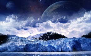 hiver, lune, neige, froid