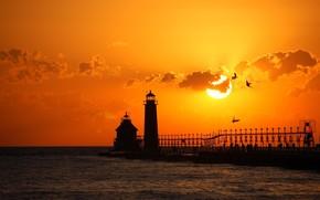 tramonto, spiaggia, mare, faro