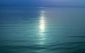 вода, горизонт, след