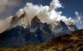 горы, облака, снег