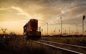 iron, road, locomotive, Rails