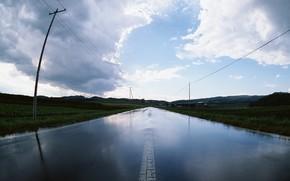 road, column, water, rain