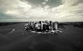 нью-йорк, черно-белая, здания