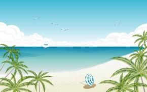 вектор, пляж, берег, зонтик, пальмы, яхта