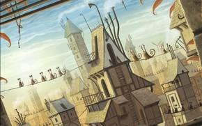 snails, wire, City
