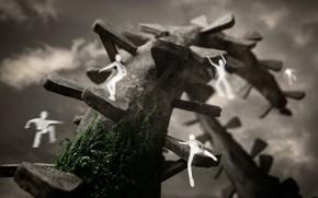 человечки, растение, сооружение