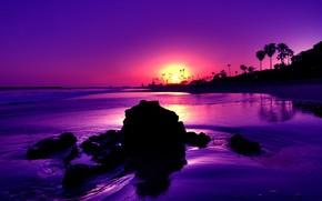 камни, берег, закат