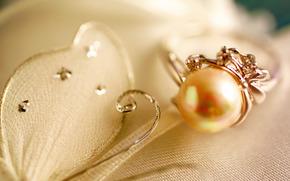 кольцо, жемчужина, украшение, ткань, белый, макро