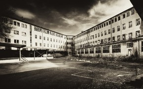 building, abandoned, area, photo, black and white, background, wallpaper