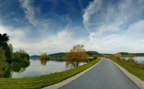 nature, landscape, river, Trees, autumn, road, forest, sky